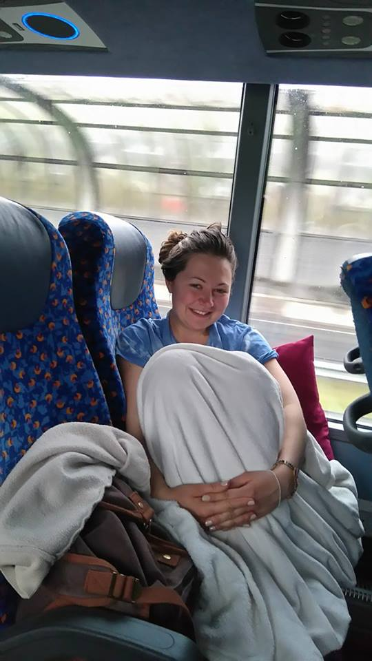 stretching out on the megabus to amsterdam